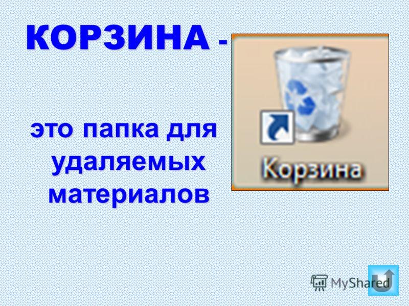 КОРЗИНА - это папка для удаляемых материалов