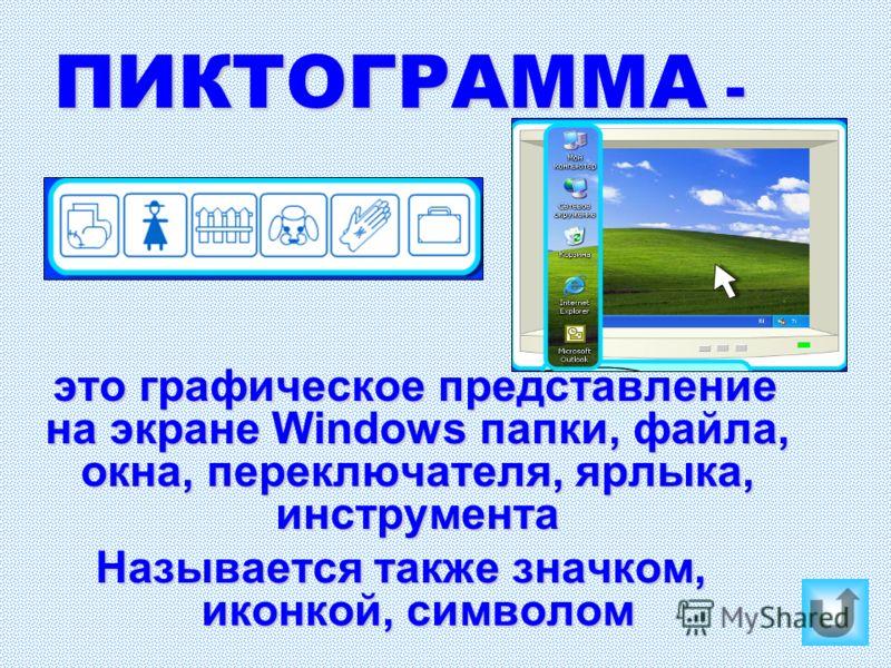 ПИКТОГРАММА - это графическое представление на экране Windows папки, файла, окна, переключателя, ярлыка, инструмента Называется также значком, иконкой, символом
