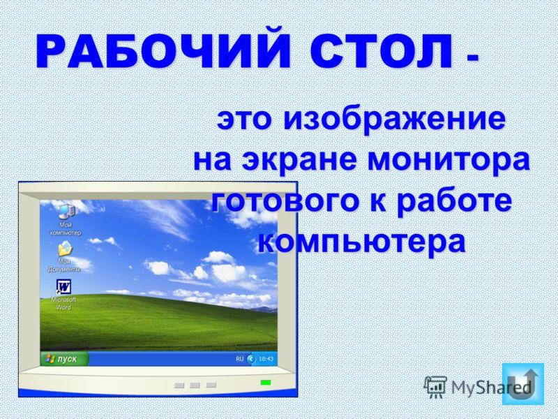 РАБОЧИЙ СТОЛ - это изображение на экране монитора готового к работе компьютера
