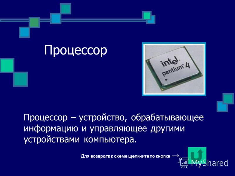 Процессор Процессор – устройство, обрабатывающее информацию и управляющее другими устройствами компьютера. Для возврата к схеме щелкните по кнопке