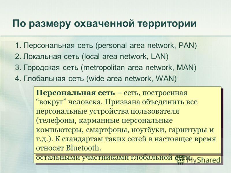 Локальная сеть – компьютерная сеть, покрывающая относительно небольшую территорию, такую как дом, офис, или небольшую группу зданий, например, университет. Городская сеть – охватывает несколько зданий в пределах одного города либо город целиком. Как