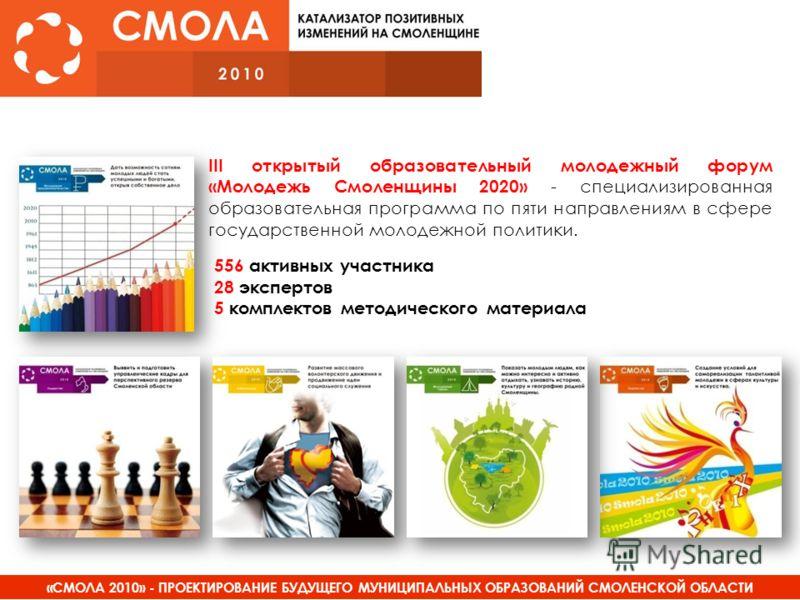 «СМОЛА 2010» - ПРОЕКТИРОВАНИЕ БУДУЩЕГО МУНИЦИПАЛЬНЫХ ОБРАЗОВАНИЙ СМОЛЕНСКОЙ ОБЛАСТИ III открытый образовательный молодежный форум «Молодежь Смоленщины 2020» - специализированная образовательная программа по пяти направлениям в сфере государственной м