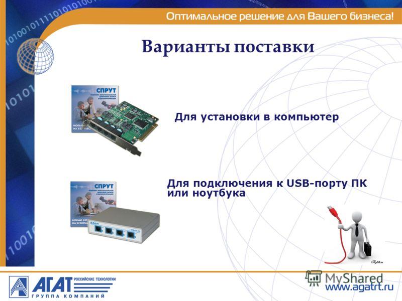 Варианты поставки Для установки в компьютер Для подключения к USB-порту ПК или ноутбука