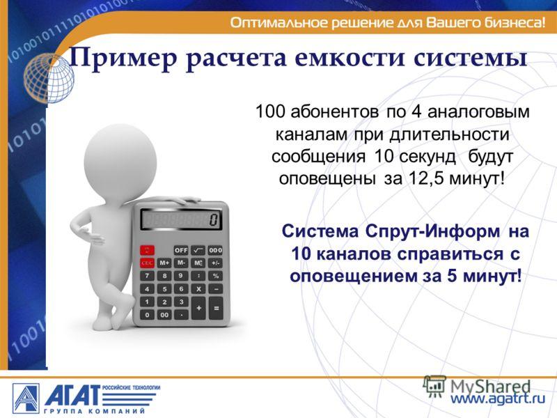 Пример расчета емкости системы 100 абонентов по 4 аналоговым каналам при длительности сообщения 10 секунд будут оповещены за 12,5 минут! Система Спрут-Информ на 10 каналов справиться с оповещением за 5 минут!