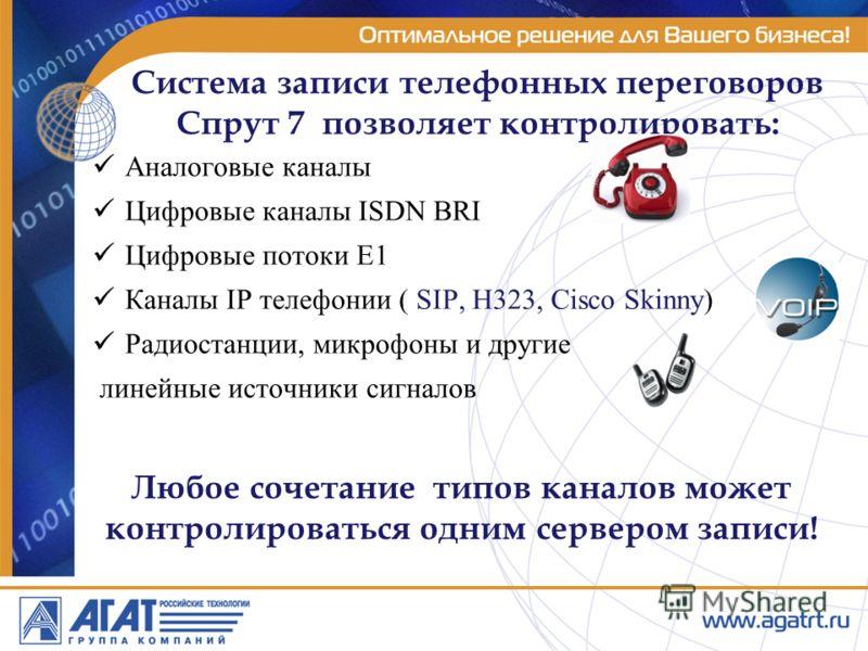 Система записи телефонных переговоров Спрут 7 позволяет контролировать: Аналоговые каналы Цифровые каналы ISDN BRI Цифровые потоки Е1 Каналы IP телефонии ( SIP, H323, Cisco Skinny) Радиостанции, микрофоны и другие линейные источники сигналов Любое со