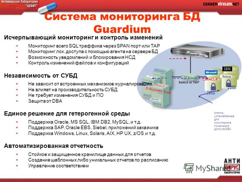E-Business Suite Switch or TAP Guardiu m S-TAP Агенты, установленные для мониторинга локального доступа DBA Исчерпывающий мониторинг и контроль изменений Мониторинг всего SQL траффика через SPAN порт или TAP Мониторинг лок. доступа с помощью агента н