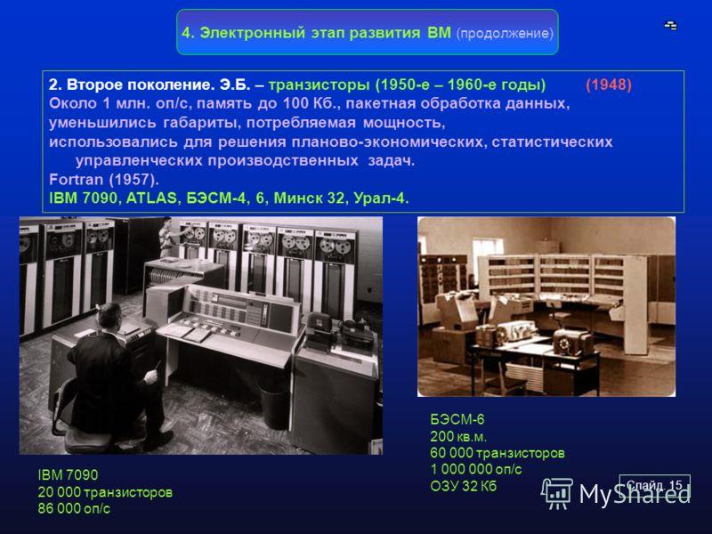 Слайд. 15 2. Второе поколение. Э.Б. – транзисторы (1950-е – 1960-е годы) (1948) Около 1 млн. оп/с, память до 100 Кб., пакетная обработка данных, уменьшились габариты, потребляемая мощность, использовались для решения планово-экономических, статистиче