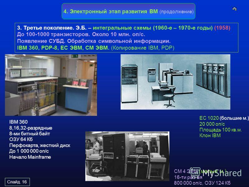 Слайд. 16 4. Электронный этап развития ВМ (продолжение) 3. Третье поколение. Э.Б. – интегральные схемы (1960-е – 1970-е годы) (1958) До 100-1000 транз