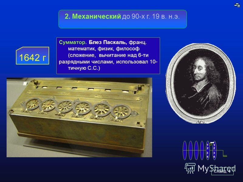 Слайд. 4 2. Механический до 90-х г. 19 в. н.э. 1642 г Сумматор. Блез Паскаль, франц. математик, физик, философ (сложение, вычитание над 6-ти разрядными числами, использовал 10- тичную С.С.) 1 2 3 4 2 4 3 1