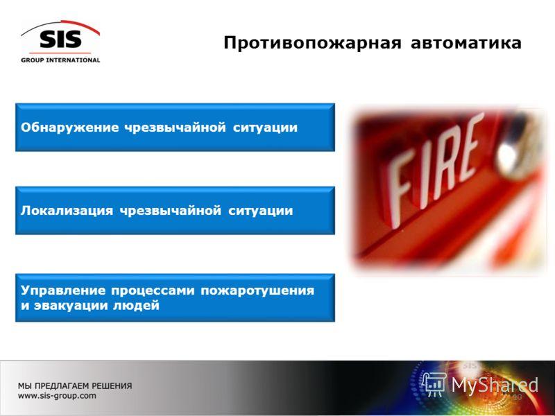 Противопожарная автоматика 10 Локализация чрезвычайной ситуации Управление процессами пожаротушения и эвакуации людей Обнаружение чрезвычайной ситуации