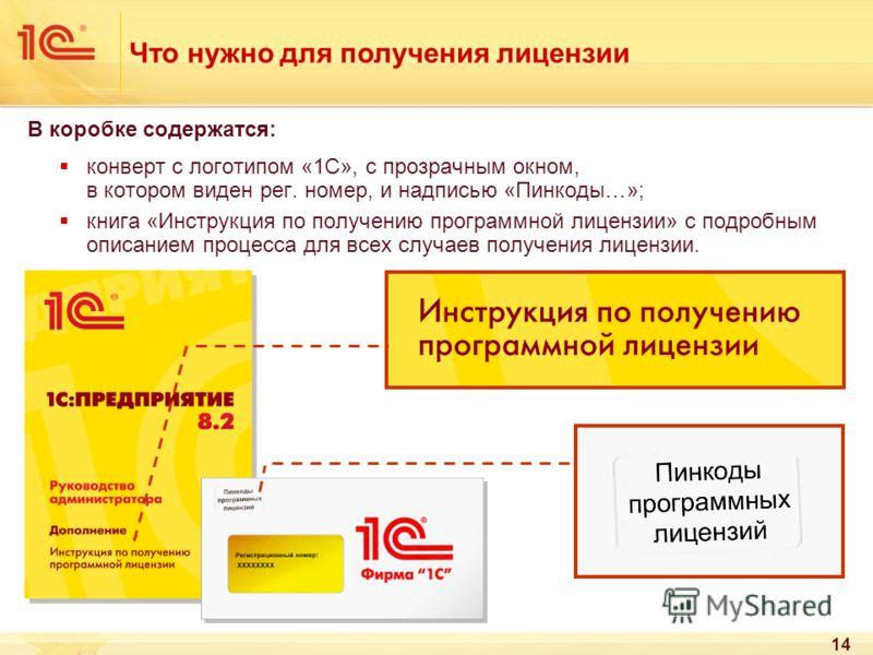 14 Что нужно для получения лицензии В коробке содержатся: конверт с логотипом «1С», с прозрачным окном, в котором виден рег. номер, и надписью «Пинкоды…»; книга «Инструкция по получению программной лицензии» с подробным описанием процесса для всех сл
