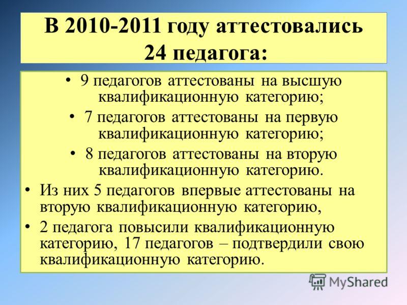 В 2010-2011 году аттестовались 24 педагога: 9 педагогов аттестованы на высшую квалификационную категорию; 7 педагогов аттестованы на первую квалификационную категорию; 8 педагогов аттестованы на вторую квалификационную категорию. Из них 5 педагогов в