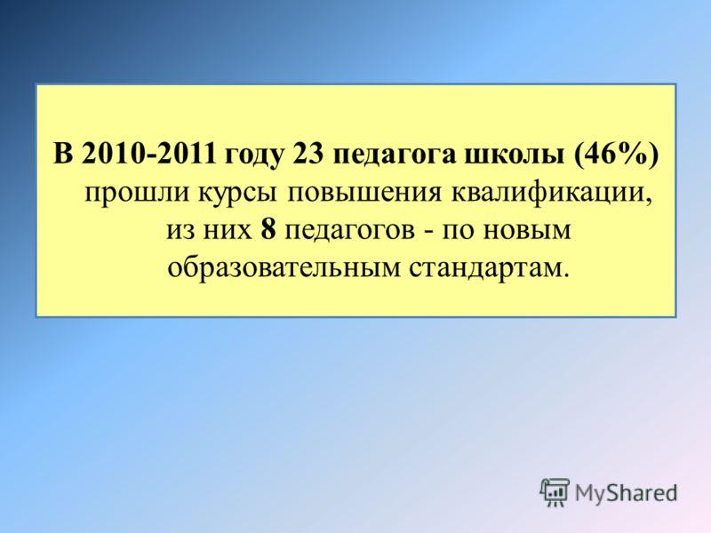 В 2010-2011 году 23 педагога школы (46%) прошли курсы повышения квалификации, из них 8 педагогов - по новым образовательным стандартам.