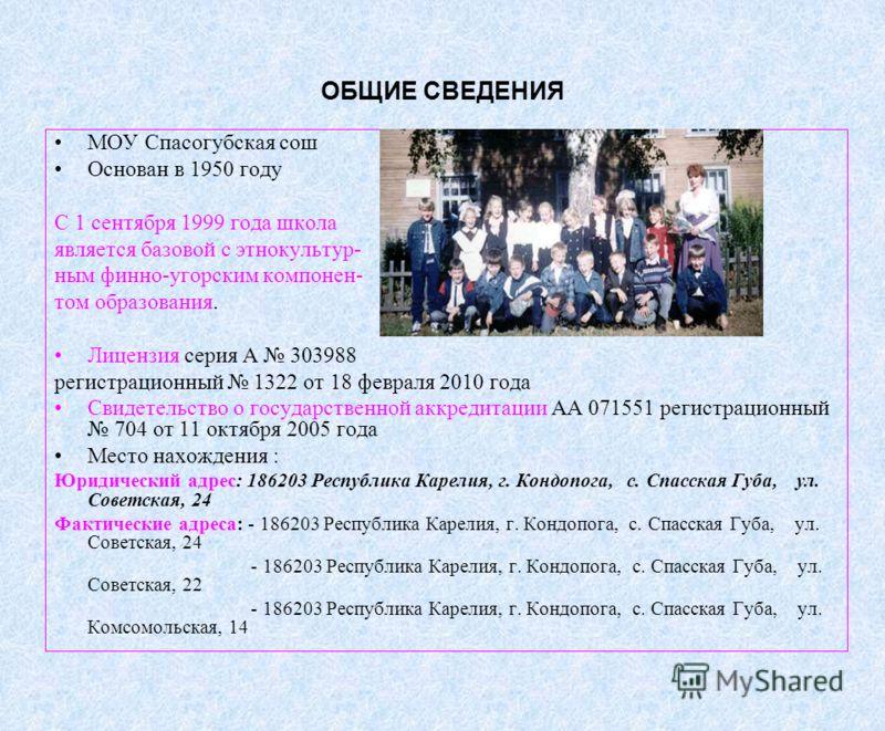 ОБЩИЕ СВЕДЕНИЯ МОУ Спасогубская сош Основан в 1950 году С 1 сентября 1999 года школа является базовой с этнокультур- ным финно-угорским компонен- том образования. Лицензия серия А 303988 регистрационный 1322 от 18 февраля 2010 года Свидетельство о го