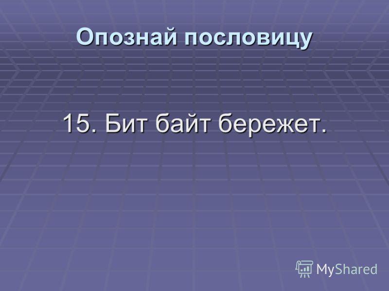 15. Бит байт бережет. Опознай пословицу