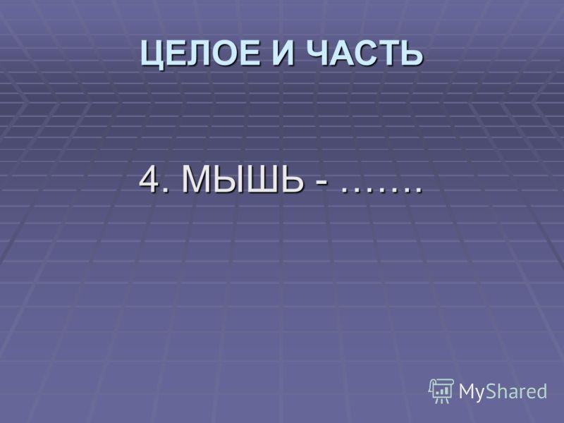 4. МЫШЬ - ……. ЦЕЛОЕ И ЧАСТЬ