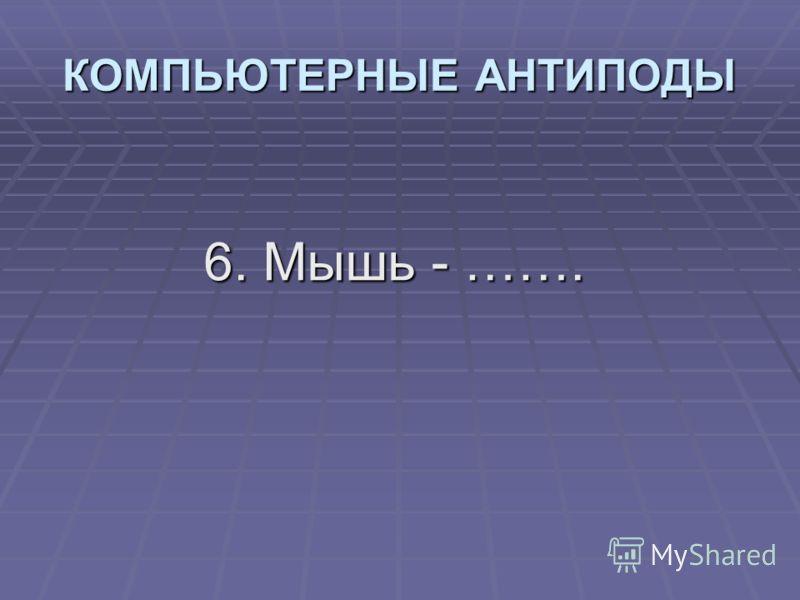 6. Мышь - ……. КОМПЬЮТЕРНЫЕ АНТИПОДЫ