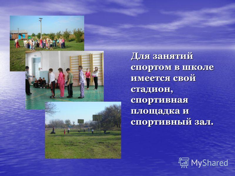Для занятий спортом в школе имеется свой стадион, спортивная площадка и спортивный зал. Для занятий спортом в школе имеется свой стадион, спортивная площадка и спортивный зал.