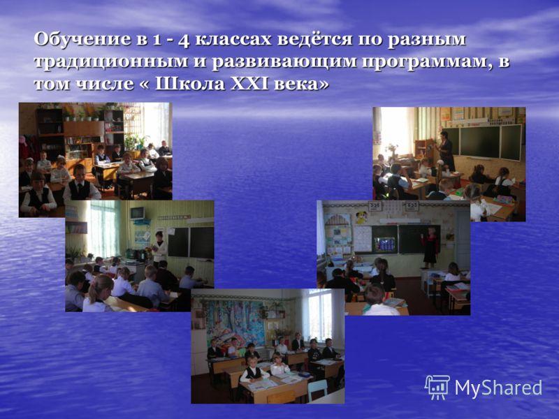 Обучение в 1 - 4 классах ведётся по разным традиционным и развивающим программам, в том числе « Школа XXI века»