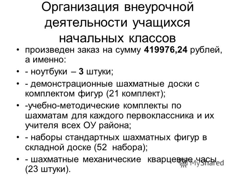 Организация внеурочной деятельности учащихся начальных классов произведен заказ на сумму 419976,24 рублей, а именно: - ноутбуки – 3 штуки; - демонстрационные шахматные доски с комплектом фигур (21 комплект); -учебно-методические комплекты по шахматам