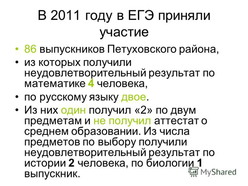В 2011 году в ЕГЭ приняли участие 86 выпускников Петуховского района, из которых получили неудовлетворительный результат по математике 4 человека, по русскому языку двое. Из них один получил «2» по двум предметам и не получил аттестат о среднем образ