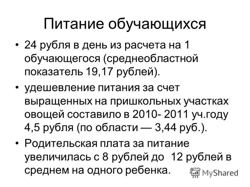 Питание обучающихся 24 рубля в день из расчета на 1 обучающегося (среднеобластной показатель 19,17 рублей). удешевление питания за счет выращенных на пришкольных участках овощей составило в 2010- 2011 уч.году 4,5 рубля (по области 3,44 руб.). Родител