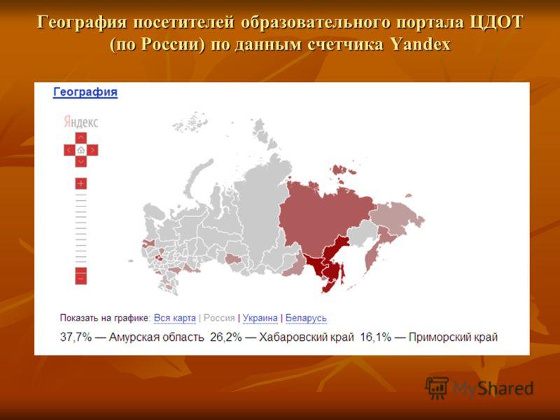 География посетителей образовательного портала ЦДОТ (по России) по данным счетчика Yandex
