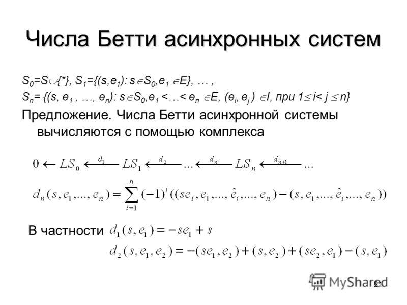 51 Числа Бетти асинхронных систем S 0 =S {*}, S 1 ={(s,e 1 ): s S 0,e 1 E}, …, S n = {(s, e 1, …, e n ): s S 0,e 1