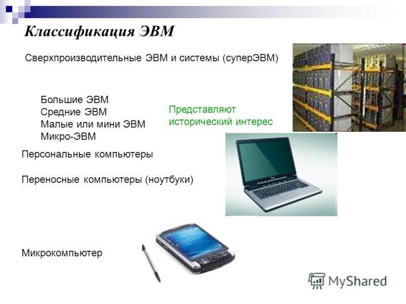 Классификация ЭВМ Сверхпроизводительные ЭВМ и системы (суперЭВМ) Большие ЭВМ Средние ЭВМ Малые или мини ЭВМ Микро-ЭВМ Представляют исторический интерес Персональные компьютеры Переносные компьютеры (ноутбуки) Микрокомпьютер