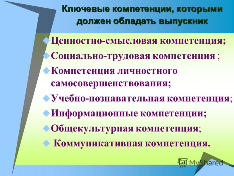 Ключевые компетенции, которыми должен обладать выпускник Ценностно-смысловая компетенция; Социально-трудовая компетенция ; Компетенция личностного самосовершенствования; Учебно-познавательная компетенция; Информационные компетенции; Общекультурная ко