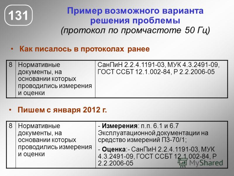 131 Пример возможного варианта решения проблемы (протокол по промчастоте 50 Гц) 8Нормативные документы, на основании которых проводились измерения и оценки СанПиН 2.2.4.1191-03, МУК 4.3.2491-09, ГОСТ ССБТ 12.1.002-84, Р 2.2.2006-05 8Нормативные докум