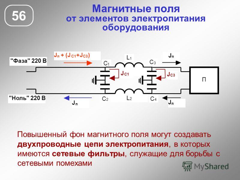 Магнитные поля от элементов электропитания оборудования 56 Повышенный фон магнитного поля могут создавать двухпроводные цепи электропитания, в которых имеются сетевые фильтры, служащие для борьбы с сетевыми помехами П С 1