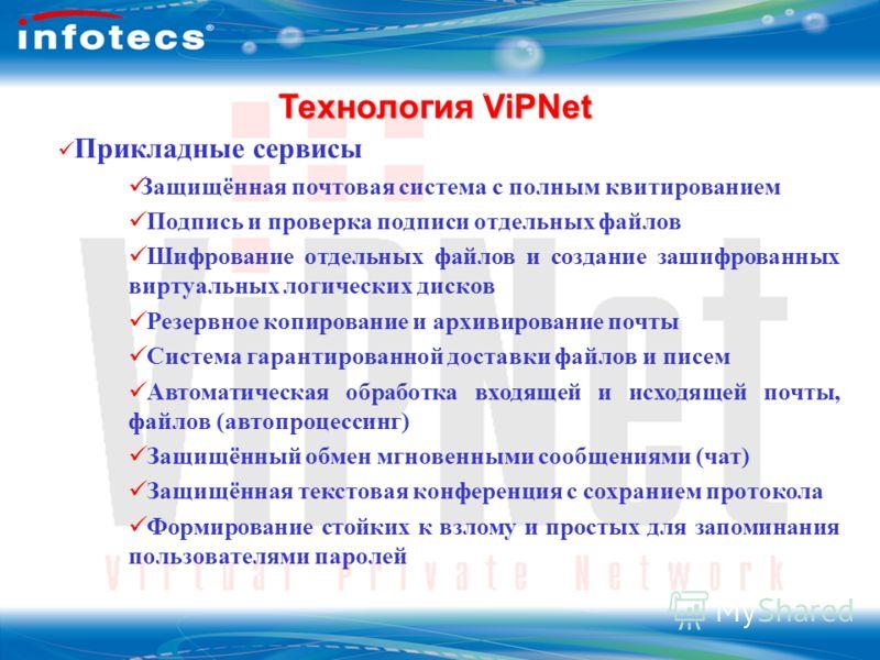 ОАО Инфотекс Технология ViPNet Технология ViPNet 3 Прикладные сервисы Защищённая почтовая система с полным квитированием Подпись и проверка подписи отдельных файлов Шифрование отдельных файлов и создание зашифрованных виртуальных логических дисков Ре