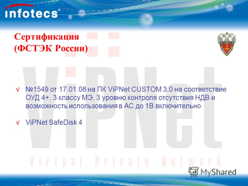Сертификация (ФСТЭК России) 1549 от 17.01.08 на ПК ViPNet CUSTOM 3.0 на соответствие ОУД 4+, 3 классу МЭ, 3 уровню контроля отсутствия НДВ и возможность использования в АС до 1В включительно ViPNet SafeDisk 4