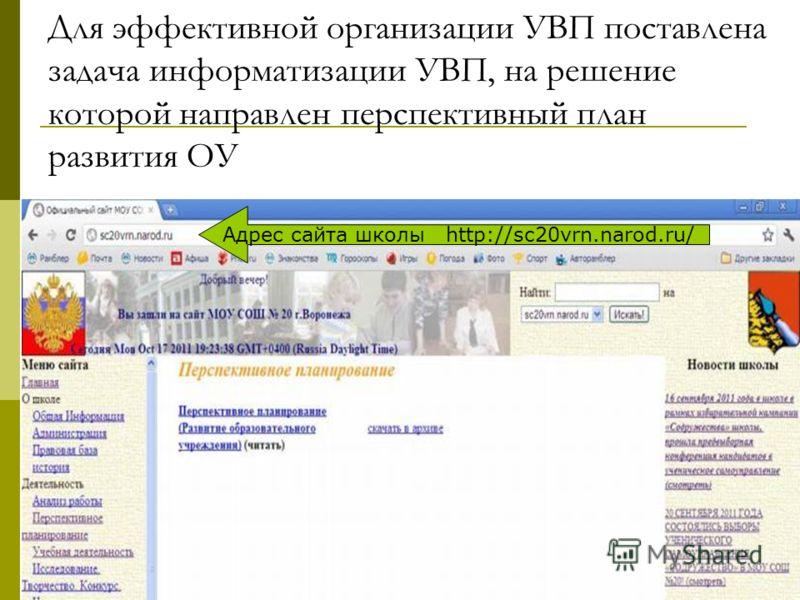 Для эффективной организации УВП поставлена задача информатизации УВП, на решение которой направлен перспективный план развития ОУ Адрес сайта школы http://sc20vrn.narod.ru/