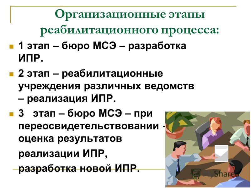 Организационные этапы реабилитационного процесса: 1 этап – бюро МСЭ – разработка ИПР. 2 этап – реабилитационные учреждения различных ведомств – реализация ИПР. 3 этап – бюро МСЭ – при переосвидетельствовании - оценка результатов реализации ИПР, разра