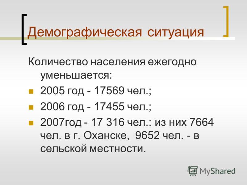 Демографическая ситуация Количество населения ежегодно уменьшается: 2005 год - 17569 чел.; 2006 год - 17455 чел.; 2007год - 17 316 чел.: из них 7664 чел. в г. Оханске, 9652 чел. - в сельской местности.