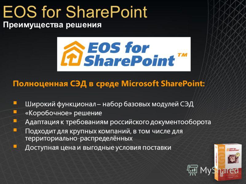Преимущества решения EOS for SharePoint Полноценная СЭД в среде Microsoft SharePoint: Широкий функционал – набор базовых модулей СЭД «Коробочное» решение Адаптация к требованиям российского документооборота Подходит для крупных компаний, в том числе