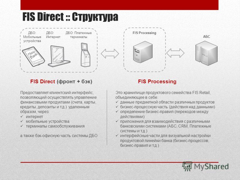 FIS Direct :: Структура FIS Direct (фронт + бэк) Предоставляет клиентский интерфейс, позволяющий осуществлять управление финансовыми продуктами (счета, карты, кредиты, депозиты и т.д.) удаленным образом, через: интернет мобильные устройства терминалы