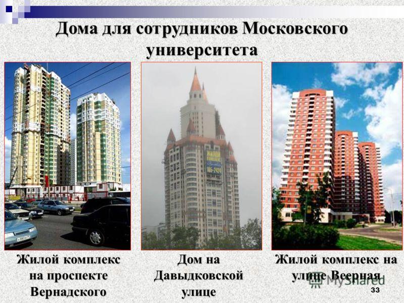 33 Жилой комплекс на проспекте Вернадского Дом на Давыдковской улице Жилой комплекс на улице Веерная Дома для сотрудников Московского университета