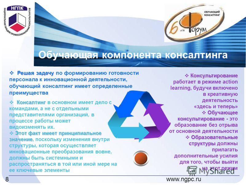 www.ngpc.ru 8 Обучающая компонента консалтинга Консультирование Консультирование работает в режиме action learning, будучи включено в креативную деятельность «здесь и теперь» Обучающее консультирование Обучающее консультирование - это образование без