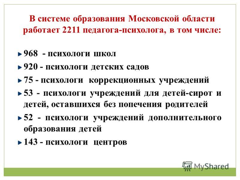 В системе образования Московской области работает 2211 педагога-психолога, в том числе: 968 - психологи школ 920 - психологи детских садов 75 - психологи коррекционных учреждений 53 - психологи учреждений для детей-сирот и детей, оставшихся без попеч