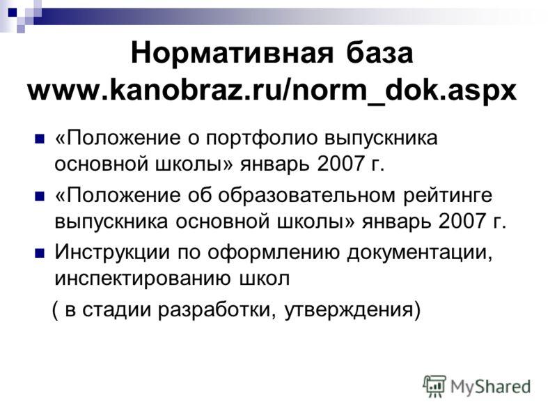 Нормативная база www.kanobraz.ru/norm_dok.aspx «Положение о портфолио выпускника основной школы» январь 2007 г. «Положение об образовательном рейтинге выпускника основной школы» январь 2007 г. Инструкции по оформлению документации, инспектированию шк