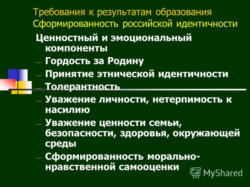 Требования к результатам образования Сформированность российской идентичности Ценностный и эмоциональный компоненты Гордость за Родину Принятие этнической идентичности Толерантность Уважение личности, нетерпимость к насилию Уважение ценности семьи, б