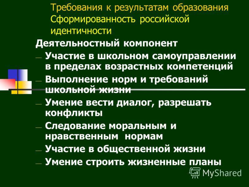 Требования к результатам образования Сформированность российской идентичности Деятельностный компонент Участие в школьном самоуправлении в пределах возрастных компетенций Выполнение норм и требований школьной жизни Умение вести диалог, разрешать конф