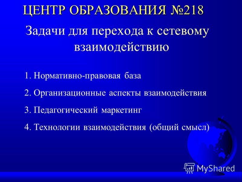 ЦЕНТР ОБРАЗОВАНИЯ 218 Задачи для перехода к сетевому взаимодействию 1. Нормативно-правовая база 2. Организационные аспекты взаимодействия 3. Педагогический маркетинг 4. Технологии взаимодействия (общий смысл)