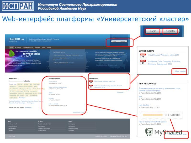 Web-интерфейс платформы «Университетский кластер»