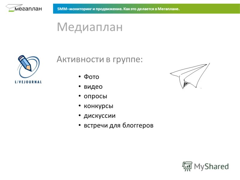 SMM–мониторинг и продвижение. Как это делается в Мегаплане. Активности в группе: Фото видео опросы конкурсы дискуссии встречи для блоггеров Медиаплан