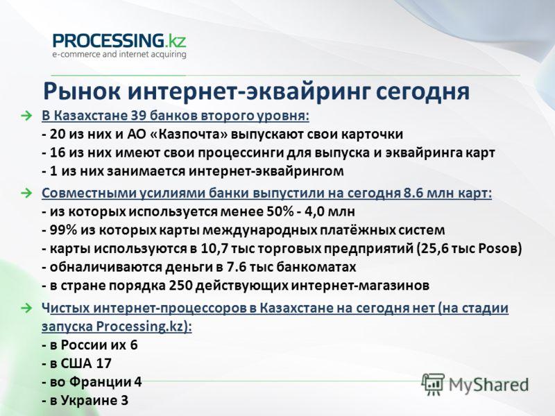 Рынок интернет-эквайринг сегодня В Казахстане 39 банков второго уровня: - 20 из них и АО «Казпочта» выпускают свои карточки - 16 из них имеют свои процессинги для выпуска и эквайринга карт - 1 из них занимается интернет-эквайрингом Совместными усилия