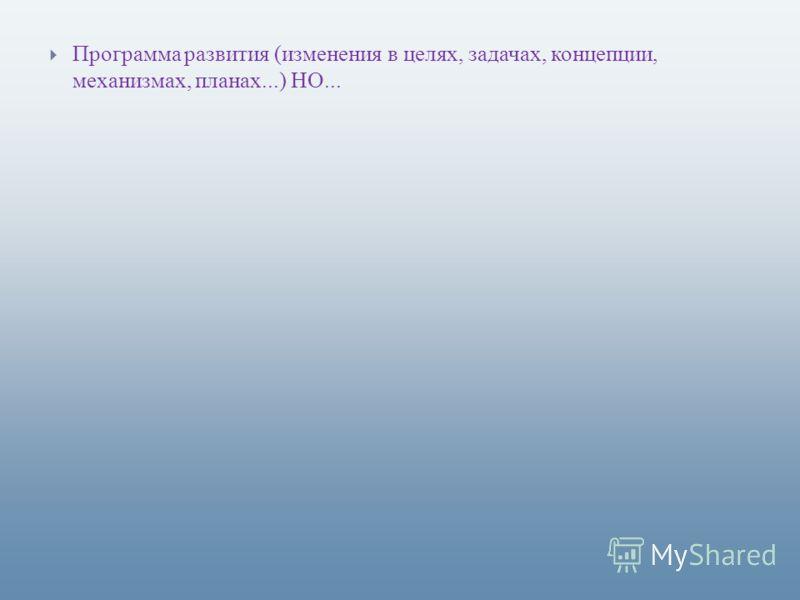 Программа развития (изменения в целях, задачах, концепции, механизмах, планах...) НО...